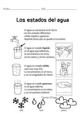 Los estados del agua Os presentamos este fantástico poema para vuestros niños sobre los estados del agua. ¡Es un poema muy completo y muy bien explicado que puede ser utilizado como recurso escolar!