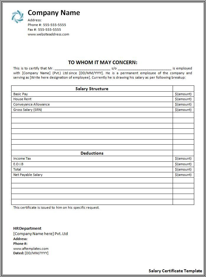 20 salary certificate formats free printable word pdf