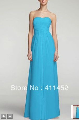 NEW! Turquoise blue /Baby pink Long Strapless Chiffon Dress with Pleated Bodice Empire bridesmaid dresses Style F15555 US $129.00