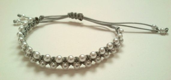 grey macrame  bracelet with pearls by KleopatrasCreations on Etsy