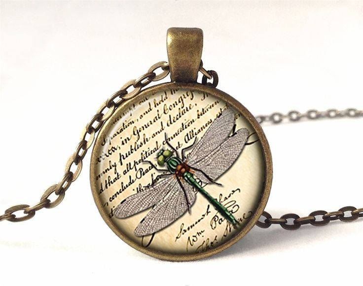Dragonfly Necklace, Vintage Pendant, 0589PB from EgginEgg by DaWanda.com