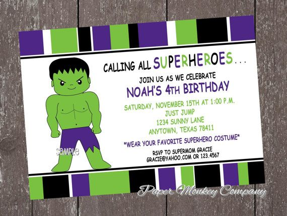 26 best Superhero Birthday Invitations images – Hulk Birthday Invitations