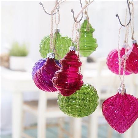 Collection Noël 2016 Fantaisie cristaline, ornements de sapin colorés en verre soufflé