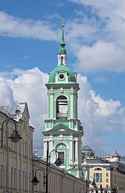 The bell tower of the Church of the Beheading of John the Baptist at the Pine Forest: an example of the Russian sacred architecture of the end of the 18th century built in traditions of the early Classicism with some elements of the Baroque. Photo by Dmitry Ivanov. 2015.