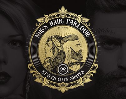 ✂ NIK'S HAIR PARLOUR is a vintage modern hair salon for both ladies and gents, located in the town centre of Northampton. Barbershop, barber shop, barber, hair salon, parlour, beard, moustache, logo, sign, badge, vintage, retro, hairdressing salon, brand identiy, mockup.