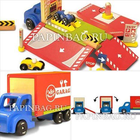 VILAC Гараж-грузовик передвижной-раскладной деревянный».Грузовик превращается в гараж, парковку, автосервис, бензозаправку! В комплекте 2 автомобильчика, дорожные знаки, светофор, бензоколонка. Гараж удобно складывается и и превращается в кузов грузовика. Упакован в фирменную коробку. Классный, полезный подарок мальчику на день рождения и просто по случаю! http://papinbag.ru/?m=5452