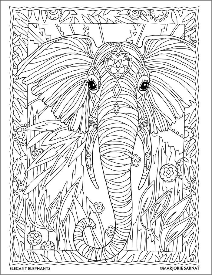 Jungle Portrait The Art Of Marjorie Sarnat Elegant Elephants Coloring Book By