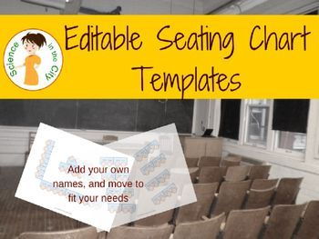This set includes a variety of seating chart templates and seating arrangements. They are editable templates so that you can move desks or add classroom features and add student names as needed.  These seating charts are great for subs for your own record