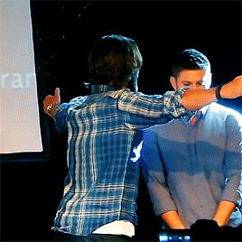 "Jared Padalecki hug-lifting Jensen Ackles. I love Jensen's ""I'm so done"" face."