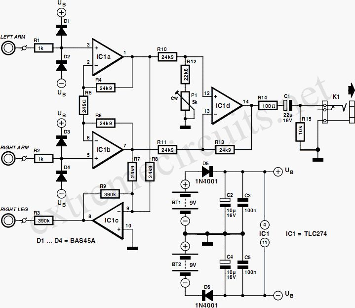Ecg Amplifier Circuit Diagram By Tlc274