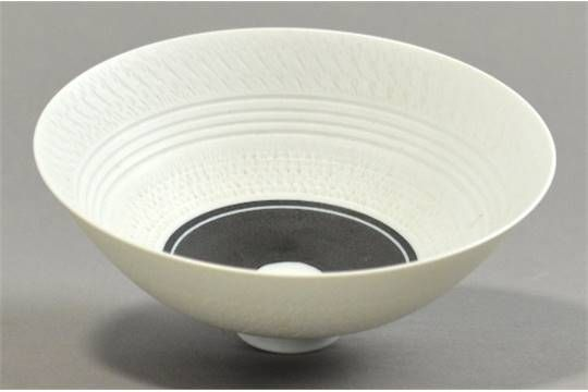 HORST GOBBELS (born 1936); a porcelain footed bowl, textured surface, black bands to interior and