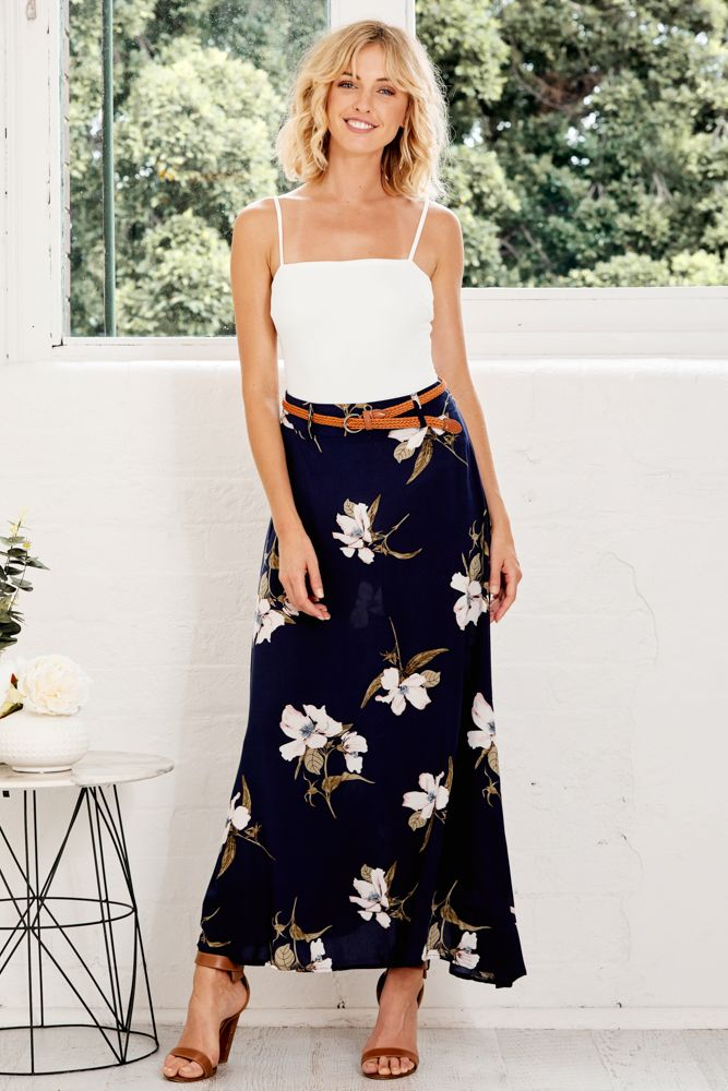 Martina Maxi Skirt in Navy with Pink Floral $59.90 | Pretty florals and summer vibes are what we love about the Martina Maxi Skirt in Navy with Pink Floral!