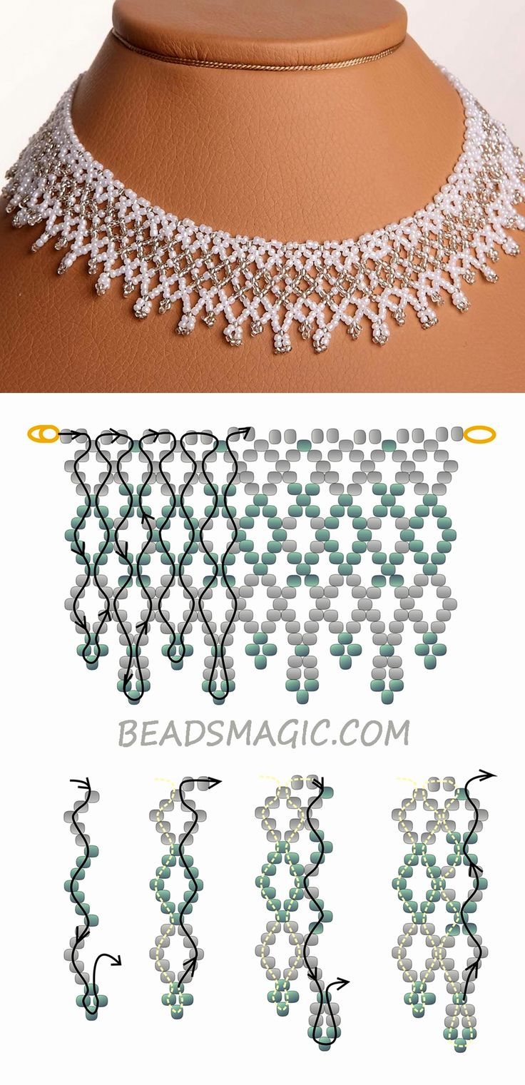 Free pattern for wedding necklace Dia 11/0