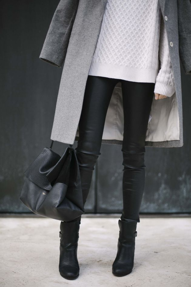 layering // leather trousers // can't go wrong with black, white & grey