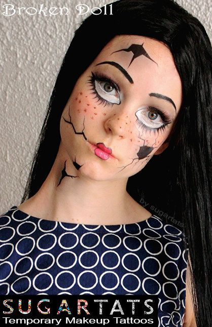 Broken Doll set of temporary tattoos - easy to use and a look just like the pictures!  They can be used with white makeup - just make sure the tattoo