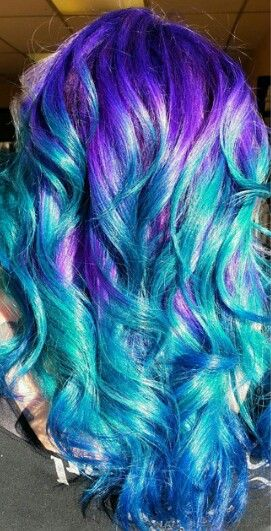 Purple turquoise dyed hair