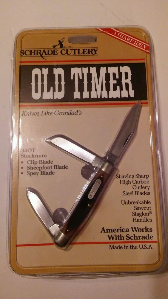 Schrade Old Timer Pocket Knife 340T Stockman Three Blade Stockman NOS #Schrade