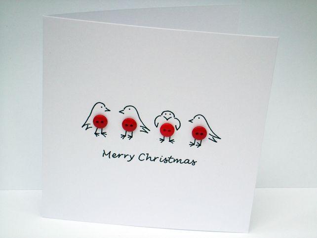 Christmas Card - Button Robins Christmas Card £2.70