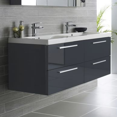 Hudson Reed Quartet 1440mm Vanity Unit and Double Basin High Gloss Grey