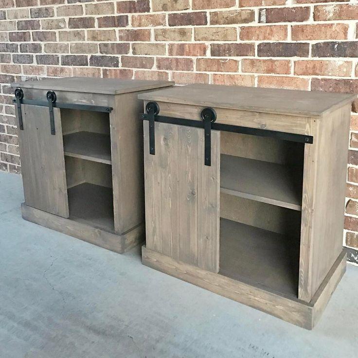 Sliding Door Farmhouse Table: DIY Sliding Barn Door Nightstands!