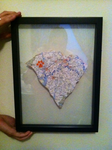 DIY Grad map gift (love the fact it's Clemson!)... my boo would love this