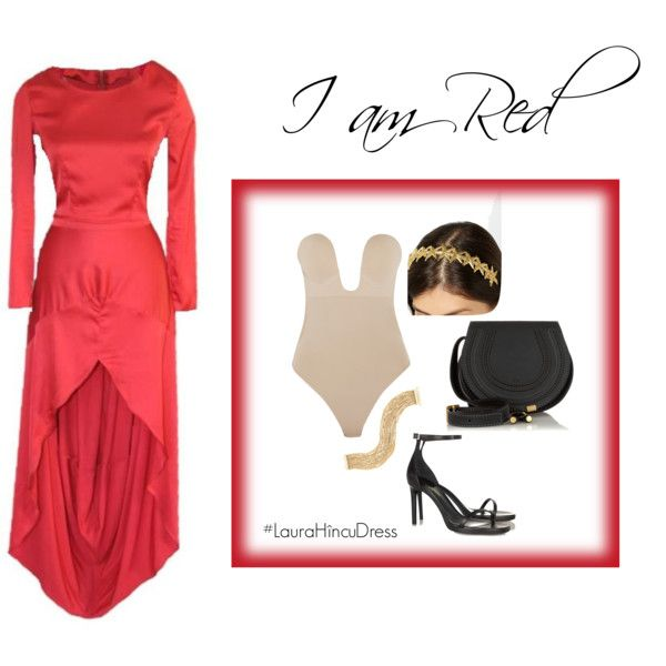 Red #LauraHîncuDress featuring Fashion Forms, Yves Saint Laurent, Chloé, Carolina Bucci and Eugenia Kim