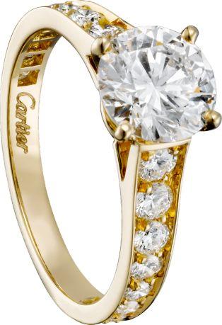 一粒のカルティエ ダイヤモンドは、唯一無二の存在。イエローゴールド *エンゲージリング 婚約指輪・カルティエ一覧*
