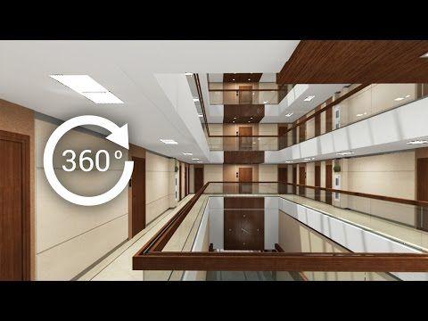 360° - 3D render   Интерьер   Апарт-отель   Атриум. Вид 3 - YouTube