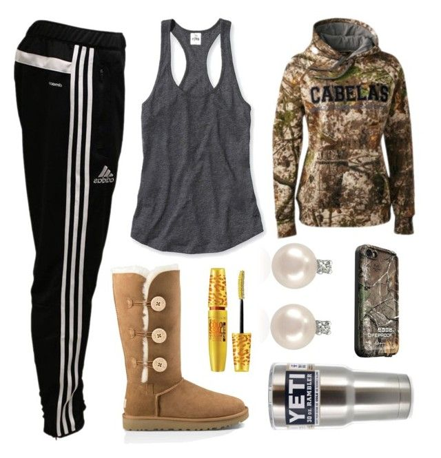 """""""Today Is My Best Friends Birthday!! One Day At School We Twinned In Adidas Sweat Pants And Cabelas Hoodies :P"""" by im-a-jeans-and-boots-kinda-girl on Polyvore featuring Victoria's Secret, adidas, UGG Australia, Maybelline, Forzieri and LifeProof"""