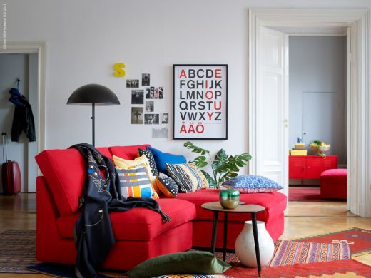 Living Room Sofa In Bright Red Again Grey Background