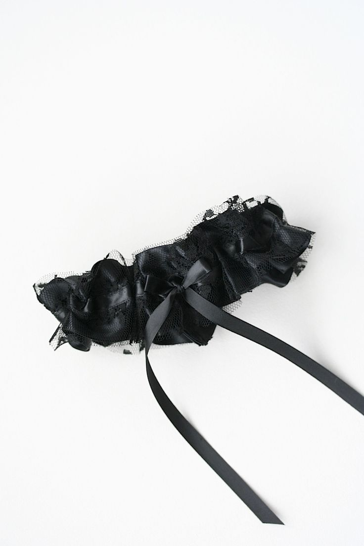 Custom Black Satin Lace Wedding Garter The Girl By Julianne Smith