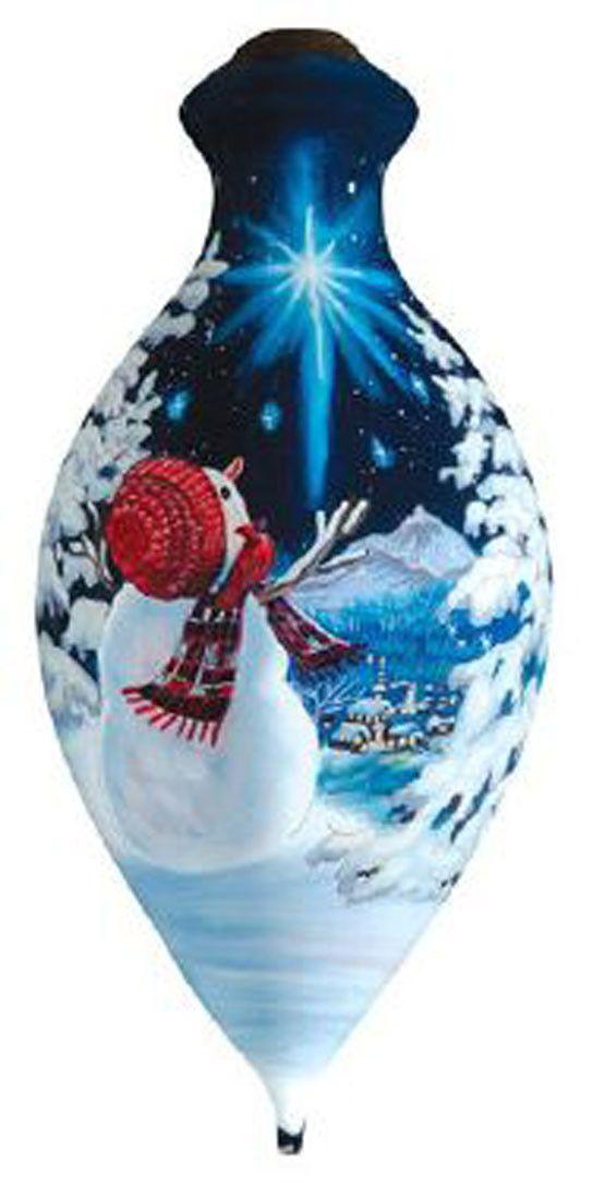 Ne'Qwa Art UPON A MIDNIGHT CLEAR Glass Snowman Ornament