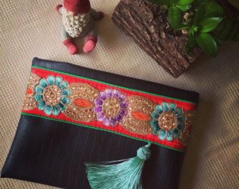 Black Faux Leather Clutch Ethnic Clutch Boho by BOHOCHICBYDAMLA
