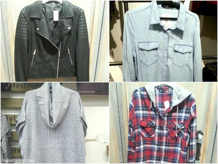 FROM TOP LEFT TO RIGHT:  The moto leather jacket with diagonal zipper. High turtle neck knit, great paired with black 3/4 sleeve top, black tights and boots. Can't go wrong with a light denim jacket in powder blue, great for casual dress. The tartan pattern is back again this year, remember to wear wrapped around your waist to add edge.