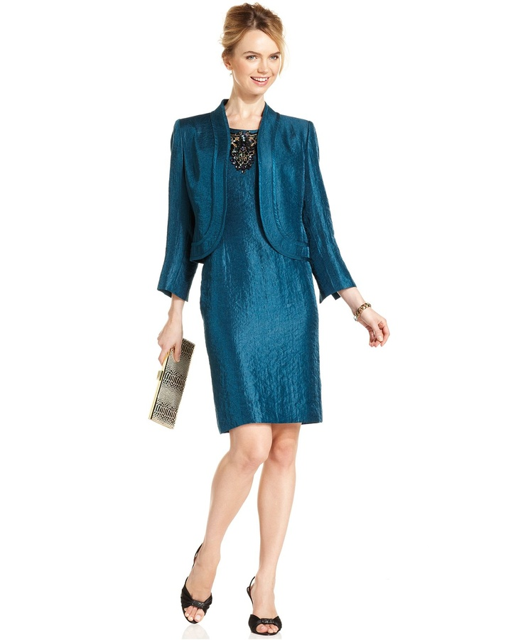 Kasper Petite Suit, Textured Cropped Jacket & Beaded Sheath Dress - Womens Petite Suits & Separates - Macy's