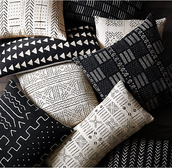 RH's Handwoven African Mud Cloth Pillow Cover:Handcrafted from authentic West African mud cloth (bògòlanfini), our pillow cover reflects the centuries-old art of mud dyeing cotton and embellishing it with distinctive tribal patterns. In a time-intensive process, local artisans bathe the cotton in natural dyes made from tree leaves and dry it in the sun, then hand paint traditional geometric motifs using fermented river mud. Rich in meaning, the geometric markings often tell a story about…
