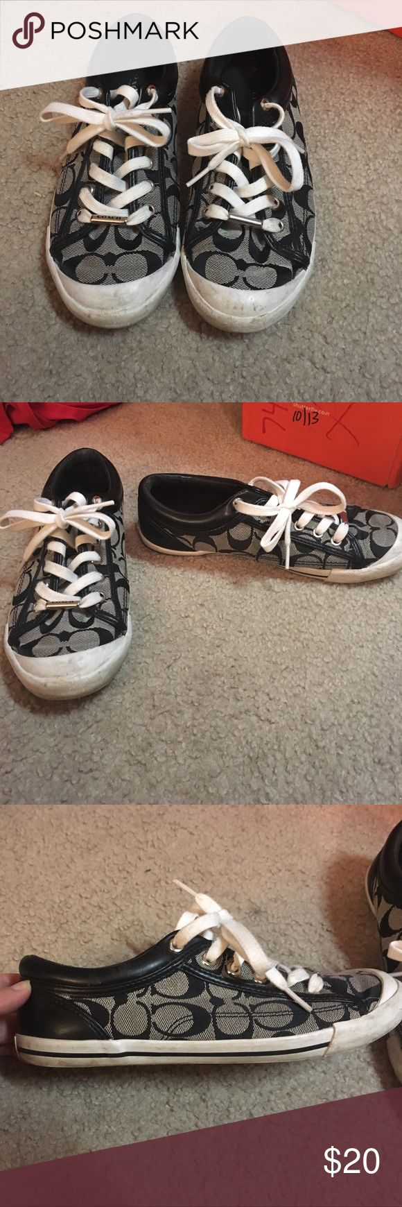 Coach tennis shoes A moderately worn pair of authentic coach tennis shoes, mild dirt marks on toe but will come off with a wipe. Other than that no staining on fabric Coach Shoes Sneakers