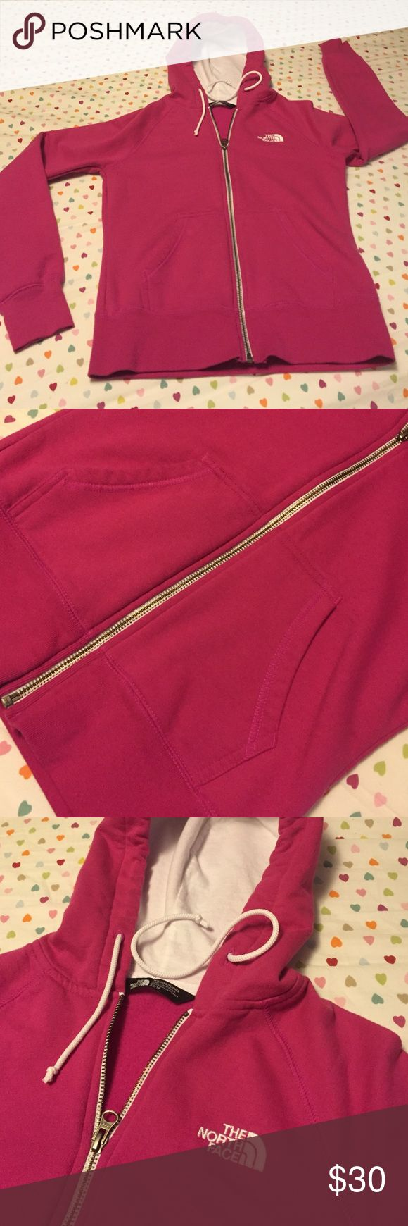 XS pink women's hoodie Good condition zippered hoodie 2 front pockets. Logo on front and back. The North Face Jackets & Coats