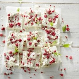 Panna cotta met frambozencrumble, witte chocolade en munt