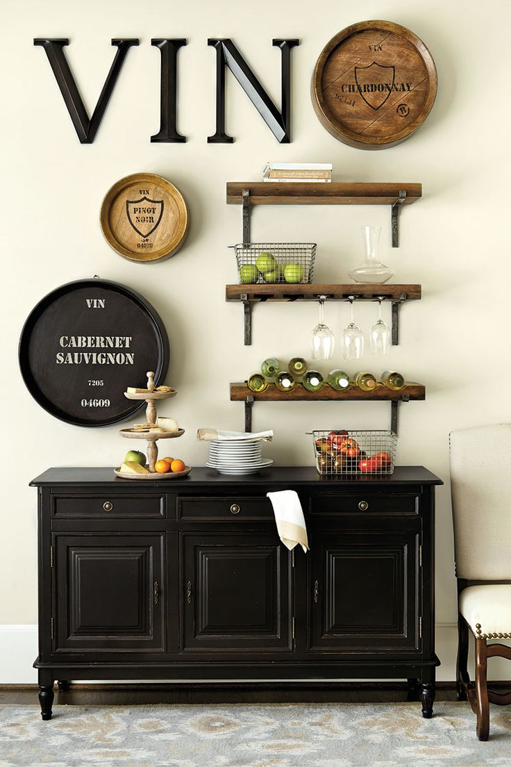 Love this vignette! Smaller version on the bar?  Ballard Designs wine storage shelf