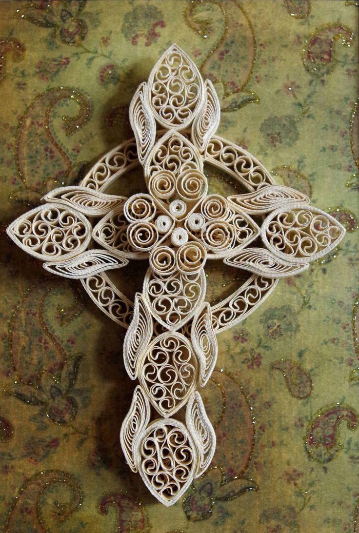 Owl greeting card set welsh artist jen delyth celtic art studio - Quilled Celtic Cross By Fiona S Paper Filigree
