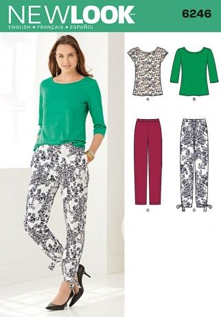 New Look Ladies Easy Sewing Pattern 6246 Knitted Tops & Cropped Pants | Sewing | Patterns | Minerva Crafts