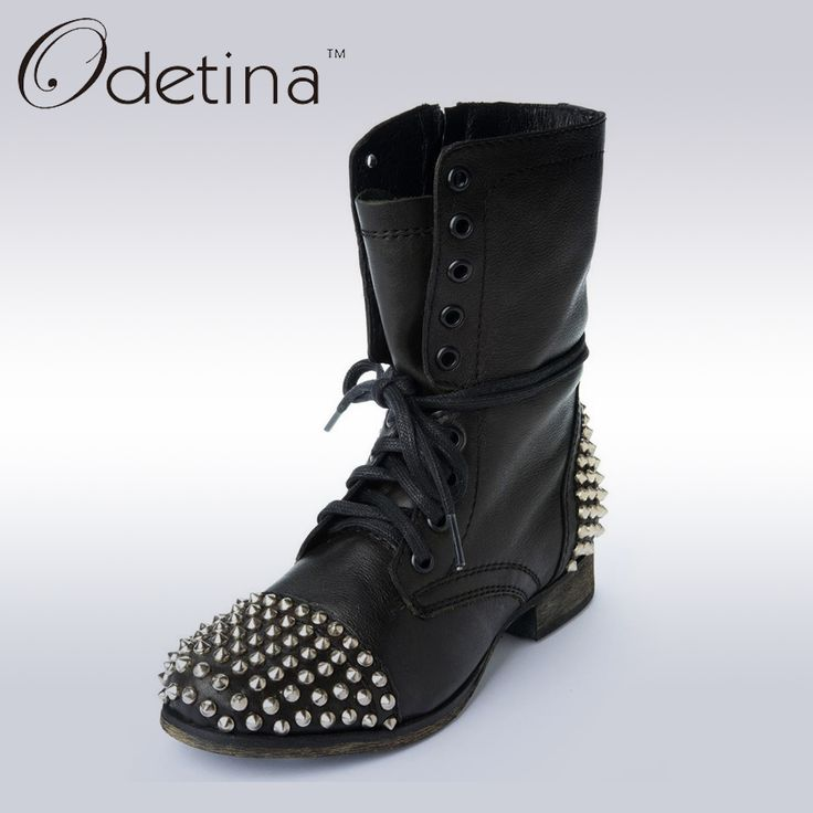 Odetina 2017 New Brand Unisex Woman Flat Ankle Boots Rivets Pink Low Square Heel Motorcycle Booties Lace Up Fashion Shoes Black
