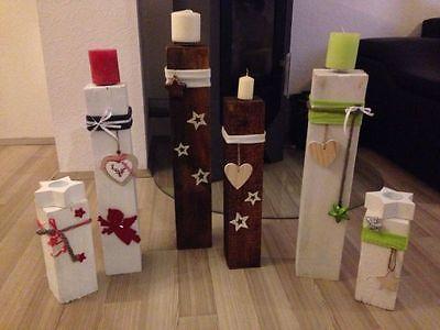 Kerzenständer deko säule advent weihnachten massiv handarbeit deko grün set