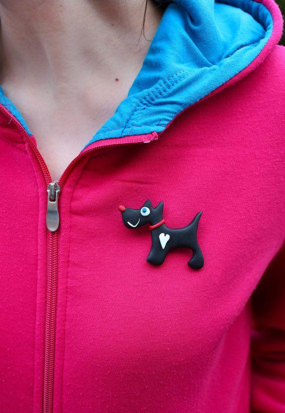 Dog Handmade brooch Black dog with heart by handmadeBYmamas