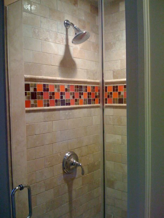 Photo Album For Website Gorgeous glass tile mosaic border in this travertine shower