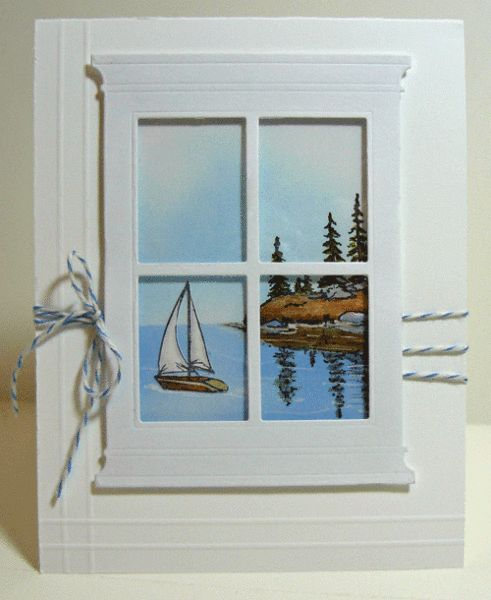Another great window scene. Could use a scenic photo. Great card for S.