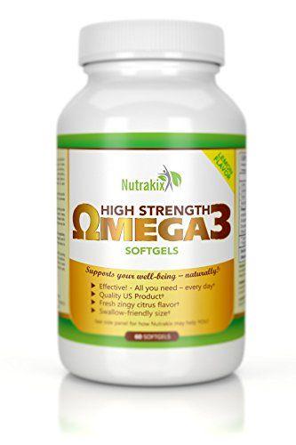 Omega 3 Fish Oil Pills Supplement - 2 Months Supply - - 1250mg EPA/DHA Capsules - Lemon Flavor - For Brain Heart