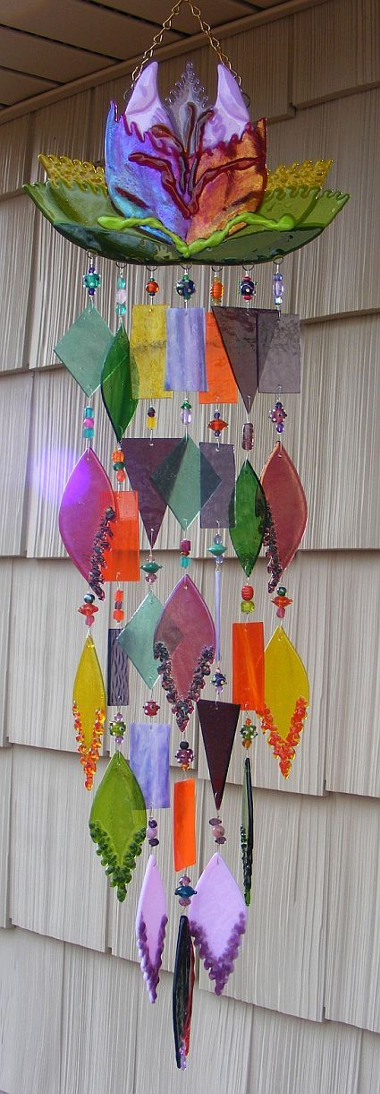 Kirks Glass Art Fused Stained Glass Wind Chime by kirksglassart