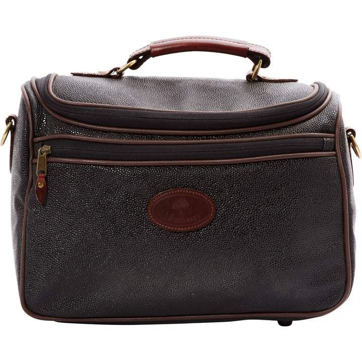 Mulberry Leather vanity case - Black grained leather vanity case. Brown leather zips #handbags